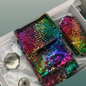 12 oz rainbow mermaid sequins flask purse